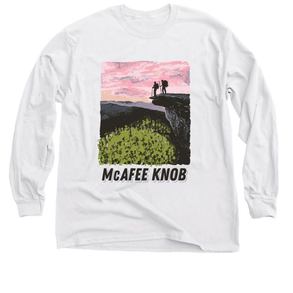 Two T-shirts with an image of McAfee Knob